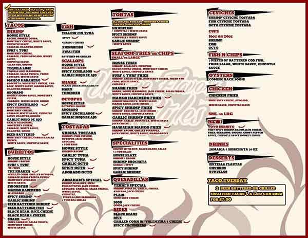 Los Pinos Seafood La Mesa menu